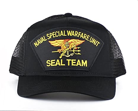 Military Navy Seal Team Large Embroidered Iron On Patch Snapback Trucker Cap  (Black) 292134fc77e