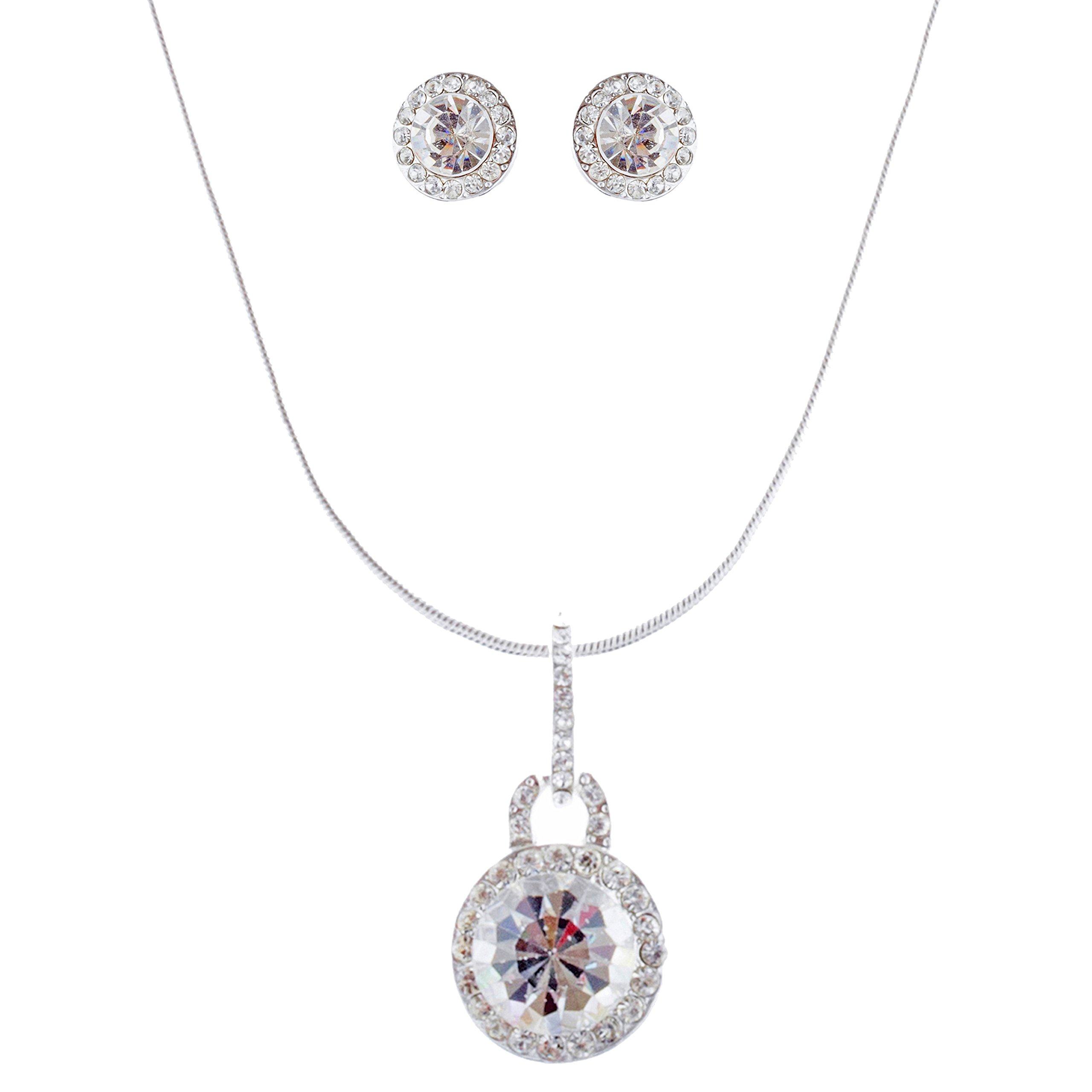 ACCESSORIESFOREVER Bridal Wedding Prom Jewelry Set Crystal Rhinestone Simple Soft Linear Drop J378