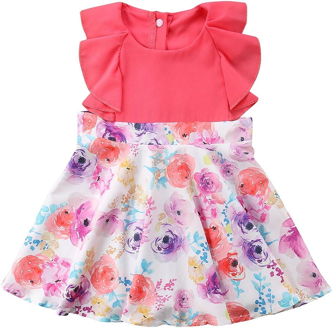 rechange Newborn Infant Baby Girl Bowknot Sleeveless Backless Ruffle Dress Summer Sundress