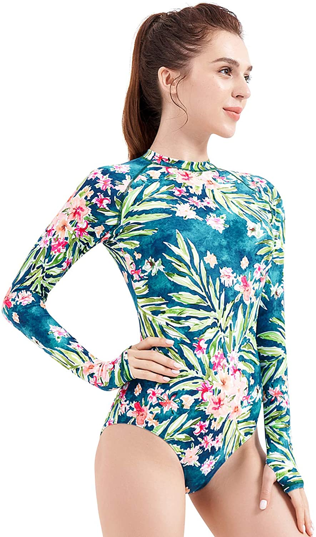 Sun Protection Printed Zipper Surfing One Piece Swimsuit Bathing Suit AXESEA Womens Long Sleeve Rash Guard UV UPF 50