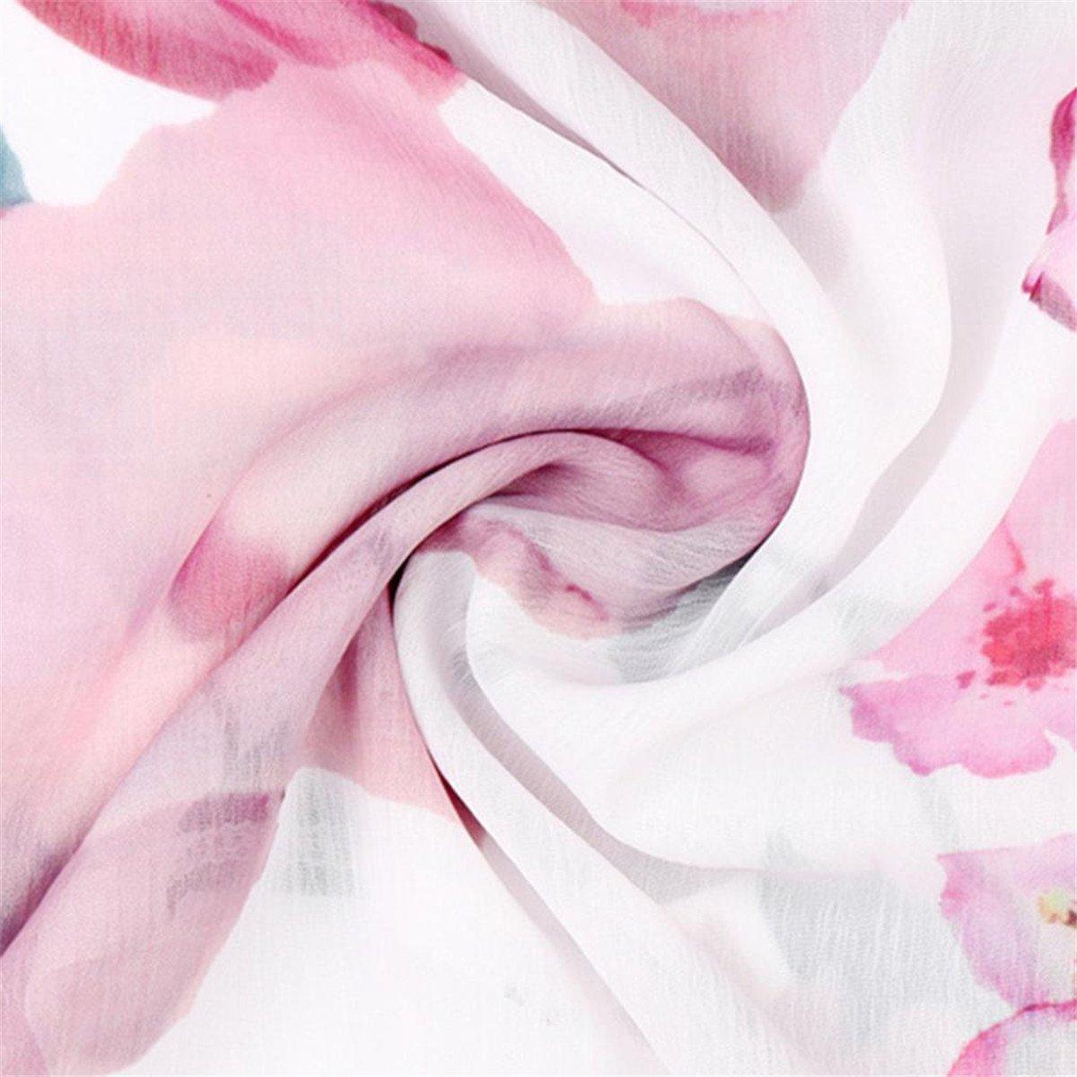 HongXander Plus Size Women Casual Floral Printed Beach Blouse Button T-Shirt Chiffon Irregular Hem Top by HongXander-Shirts (Image #6)