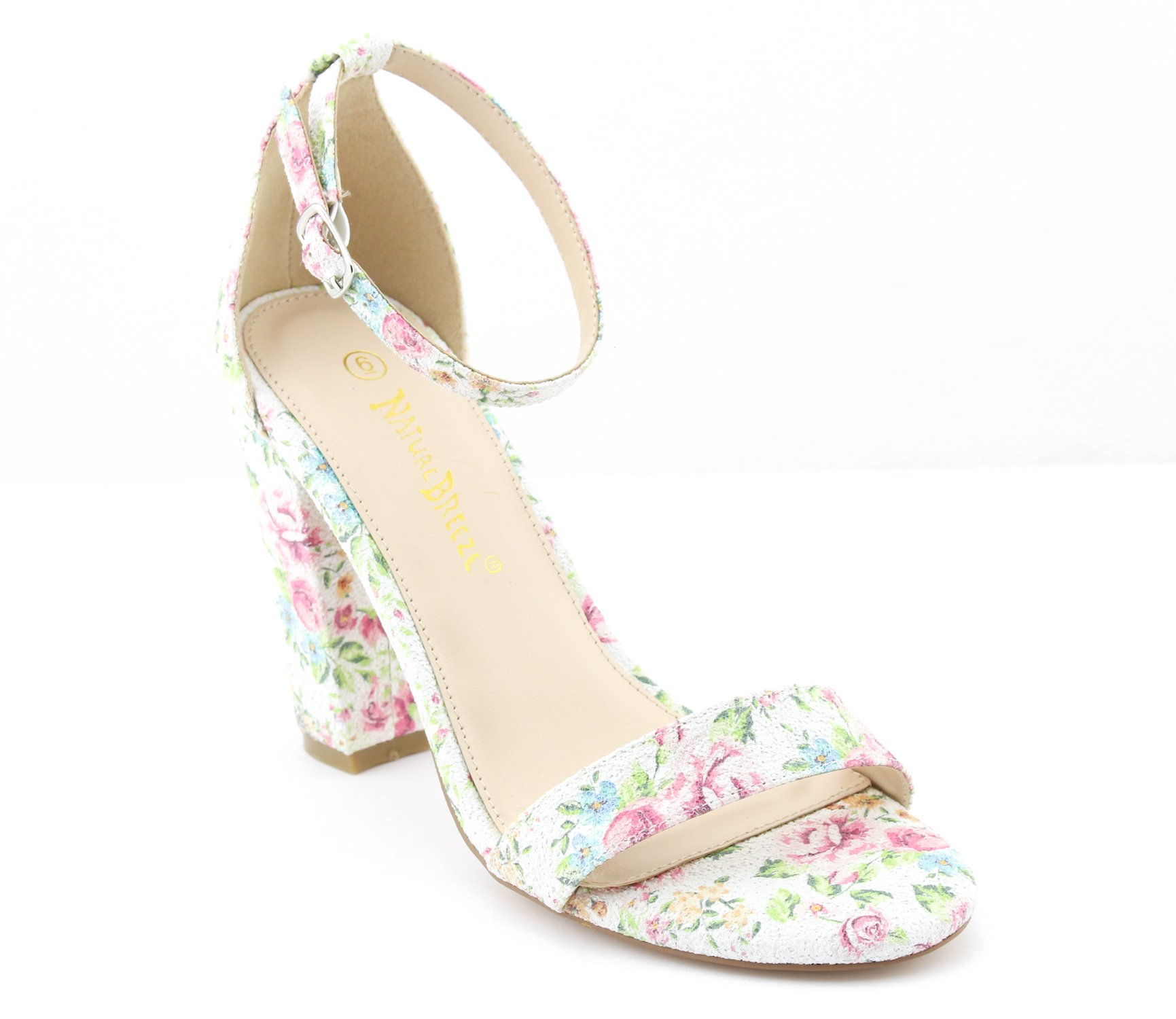 CALICO KIKI PHOEBE-CK01 Women's Casual Floral Glitter Ankle Strap Block Heel Open Toe Pumps (8.5 US,Off White)