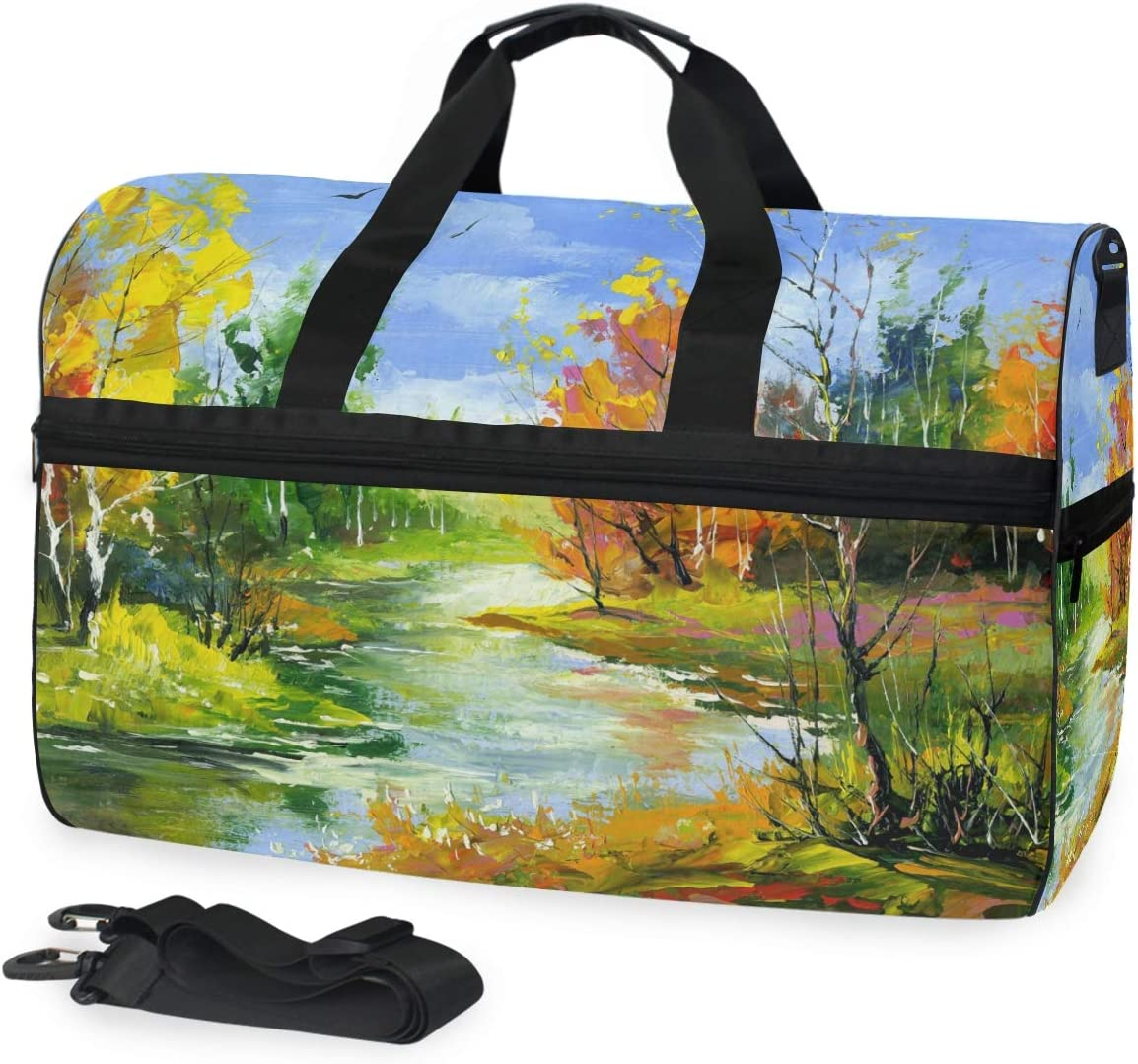FANTAZIO Autumn Landscape With The Wood River Sports Duffle Bag Gym Bag Travel Duffel with Adjustable Strap