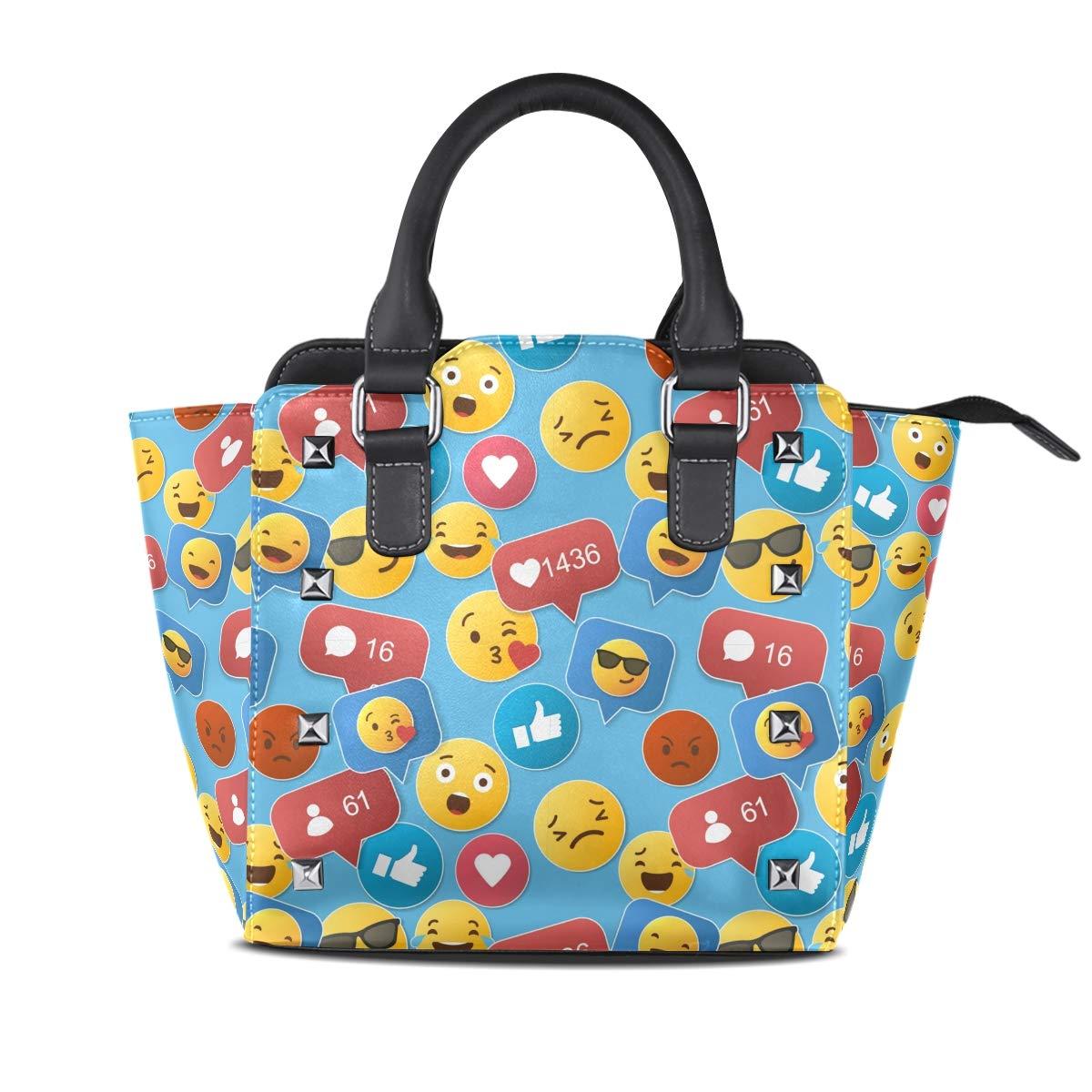 Design1 Emoji Smile Top Handle Satchel Handbags Leather Tote Adjustable Shoulder Rivet Bag for Women