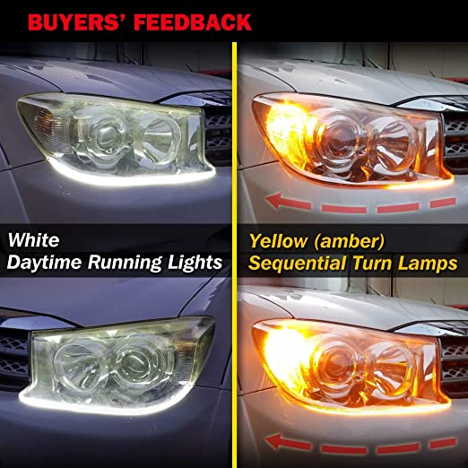 VIGORFLYRUN PARTS LTD Car Daytime Running Light LED Headlight DRL Flowing with Amber Turn Signal Light Flexible Switchback Knight Rider Strip Light