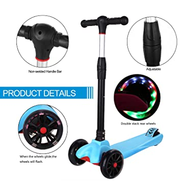 WeSkate Scooter - Mini Patinete de 3 Ruedas con Ruedas LED ...