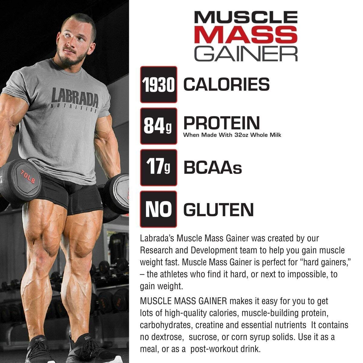 Labrada Nutrition Muscle Mass Gainer, Chocolate, 12 Pound by Labrada (Image #7)