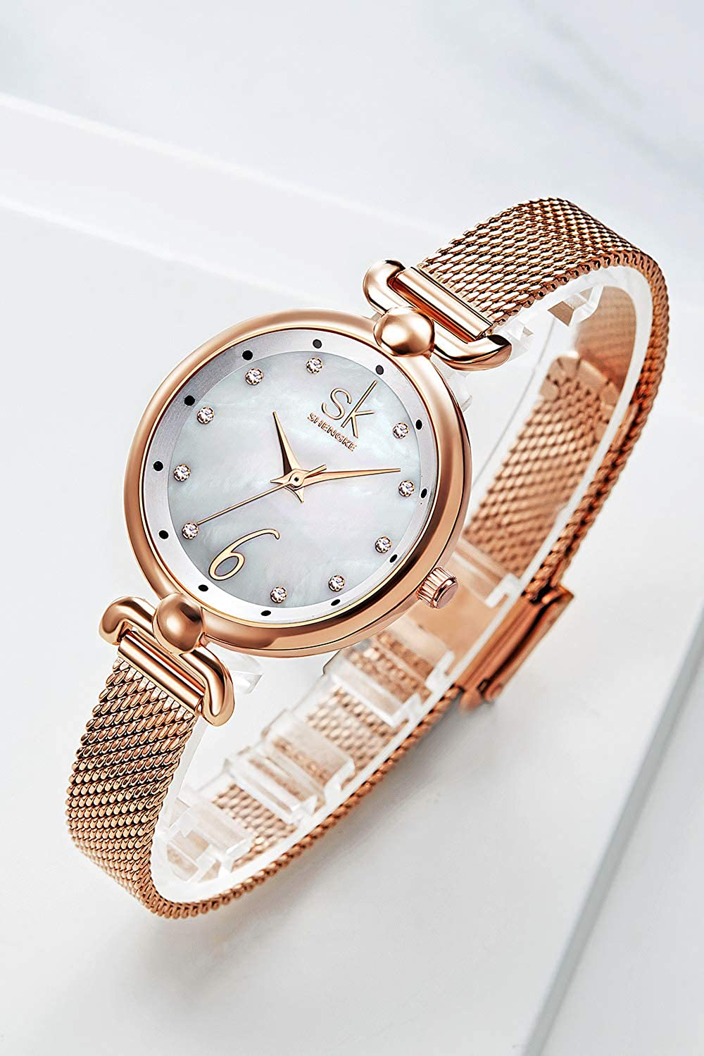 Amazon.com: SHENGKE Creative Simplicity Women Watch Mesh Band Elegant Women Watches Ladies Business Wristwatch (K0002-Rosegold-Mesh Band): Watches