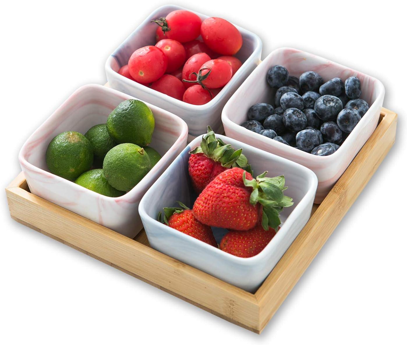 Sazaki 3.5 Inch Snack Dishes, Square Snack Bowls Small Serving Tray, Porcelain Appetizer Serving Bowl Set For Dessert, Snack, Salad and Finger Food, Set of 4 in 2 Color
