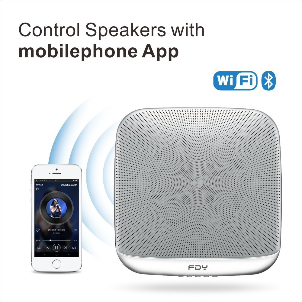 FDY Home Multiroom WiFi Speakers Wireless Smart App Control Bluetooth FM Radio USB Aux HiFi Audio Loudspeakers-White