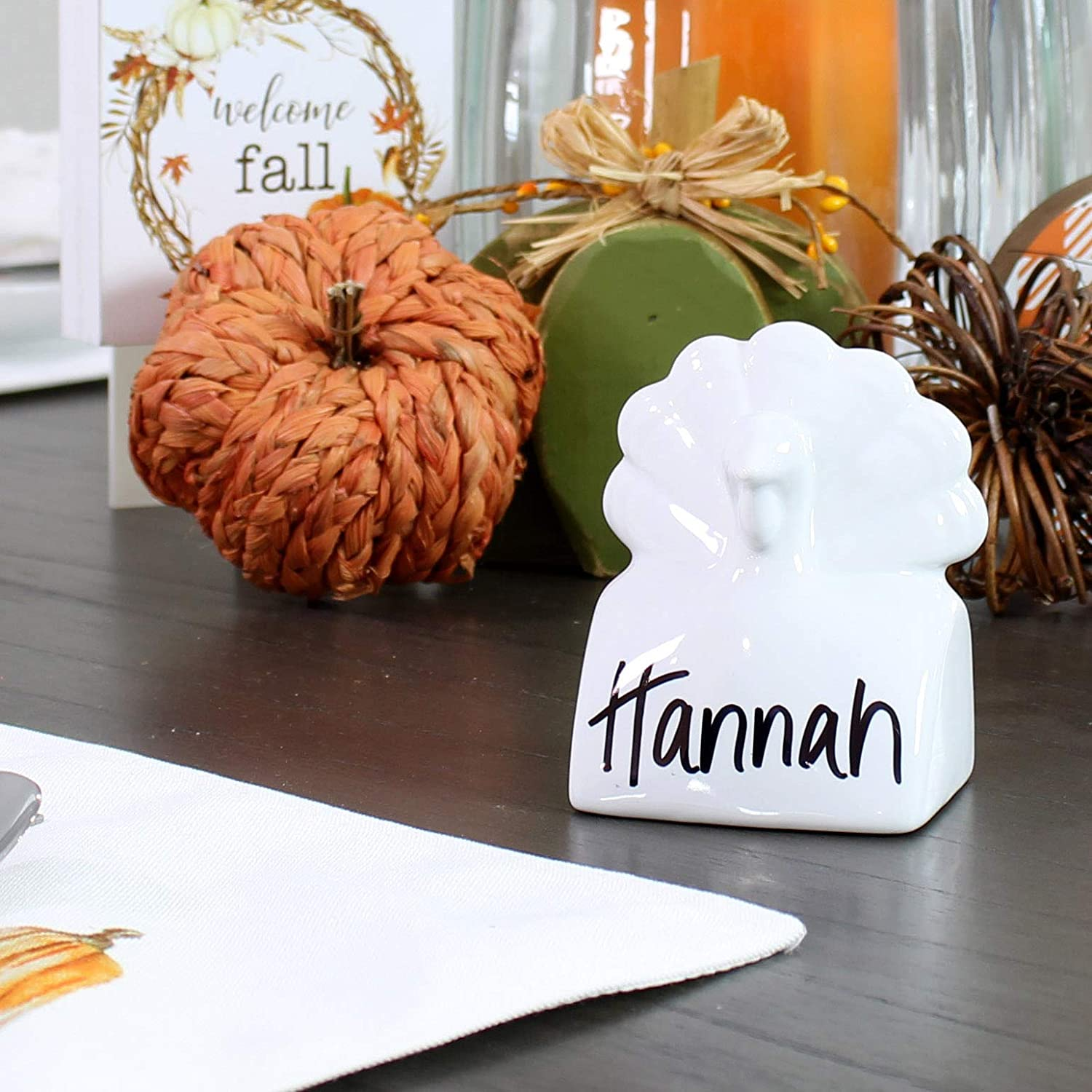 AuldHome Turkey Place Card Holders (6-Pack); Ceramic Reusable Write-On Wipe-Off Fall and Thanksgiving Place Name Stands for Table