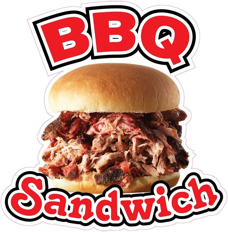 BBQ Sandwich Concession Restaurant Food Truck Die-Cut Vinyl Sticker 10 inches