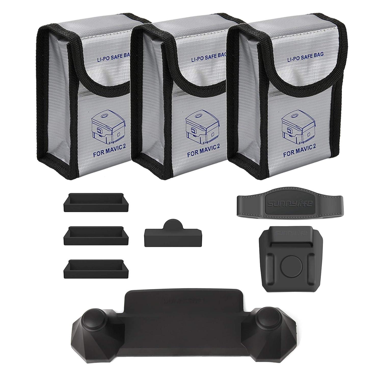 Owoda Combo de Accesorios: Bolsas ignífugas de batería lipo + Protector de Puerto de Carga + Control Remoto Balancín Protector + Estabilizador de ...