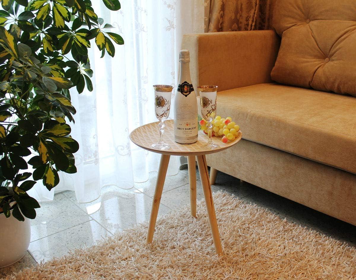 GMMH Design Table basse r/étro en bois Blanc 40 cm