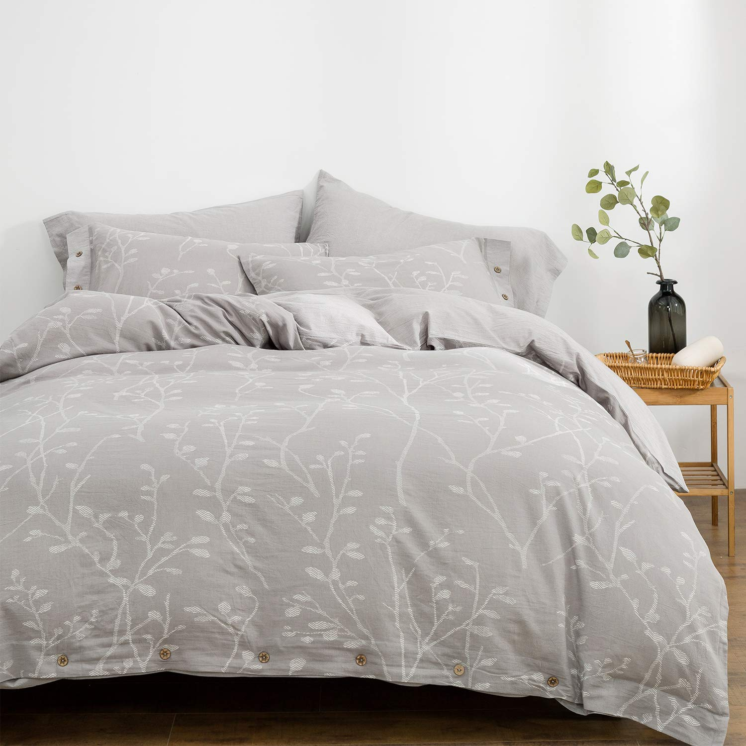 OREISE Duvet Cover Set King Size Washed Cotton Yarn Jacquard Gray and White Thin Branch Pattern Floral Style 3Piece Bedding Set
