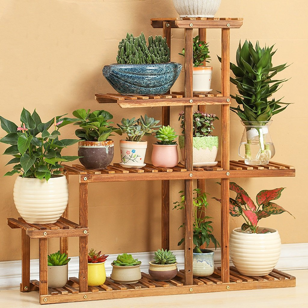 LIZX Natural Wooden Flower Racks Multilayer Balcony Flowerpot Rack Indoor And Outdoor High And Low Bonsai Frame ( Color : A )