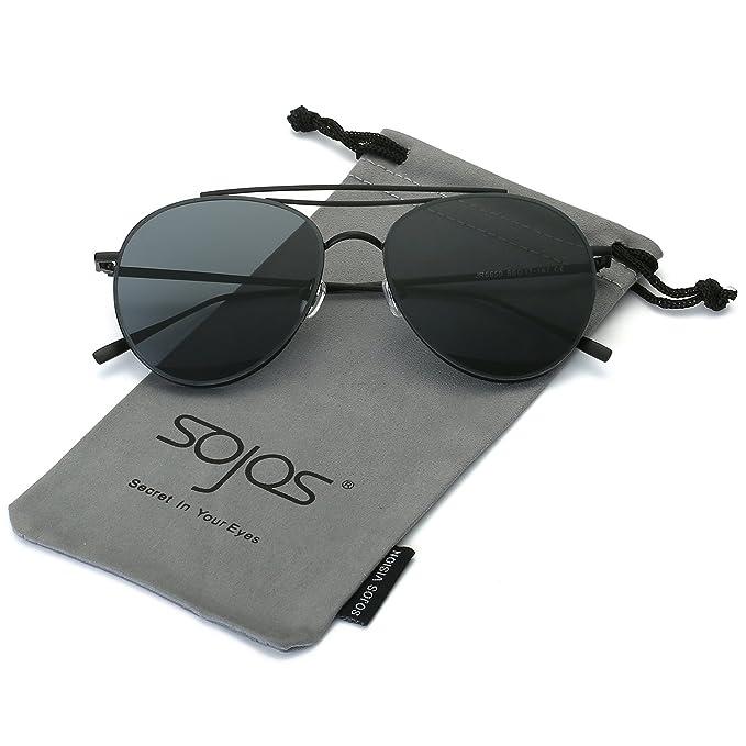SojoS Schick Klassische Retro Metallbrücken Runde Verspiegelt Sonnenbrille für Herren und Damen SJ1055 mit Silber Rahmen/Silber Linse XhCXv50n2R