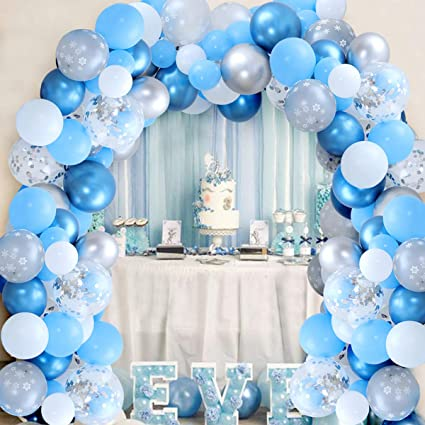 Amazon Com 106 Pack Snowflake Balloon Garland Arch Kit Winter Wonderland Party Decorations Silver And Blue For Boy 1st Birthday Baby Its Cold Outside Shower Toys Games