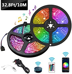 Gluckluz LED Light Strip 10M WiFi Decoration Lighting with Remote Control Compatible with Alexa and Google Home for Bedroom TV Desktop PC Hotel (Multi Color)