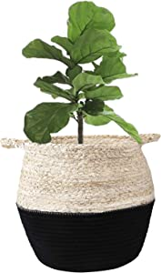 "LEEPES Natural Corn Husk Cotton Rope Basket - Modern Woven Belly Basket, Home Décor Accent, Organizer, Basket for Plant (up to 8"" Pot), Indoor Planter, Nursery Laundry Hamper, Black"