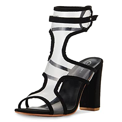 c7932b815aa JSUN7 Women s Sexy Lucite Clear Open Toe Chunky Block Heel Sandals Summer High  Heel Ankle Strap