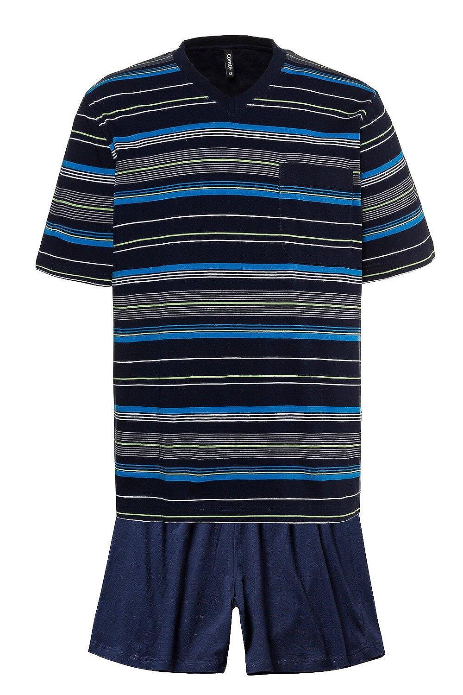 JP1880 Homme Grandes tailles - Ensemble de pyjama court pour homme - T-shirt  à rayures manches courtes - coton - bleu marine 714350 51106825209