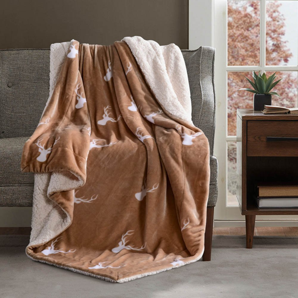 TiTa-Dong Plush Sherpa Blanket Throws Double Layers Thicken Fleece Soft Cozy Reversible Thermal Flannel Fuzzy Sofa Couch Throws Sheets Baby Blankets for Single , Twin , Full Size Bed