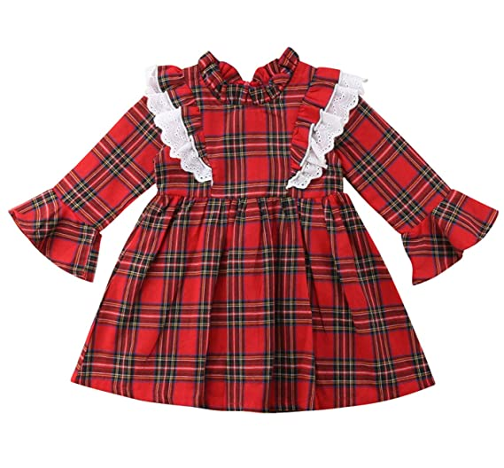16c8f037c Toddler Kids Baby Girls Christmas Ruffle Flare Long Sleeve Red Plaid Party Dress  Clothes (Red