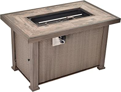 "Outsunny 42"" 50,000 BTU Outdoor Patio Backyard Gas Fire Pit Table with Beautiful Slate Tabletop & Wicker Design"