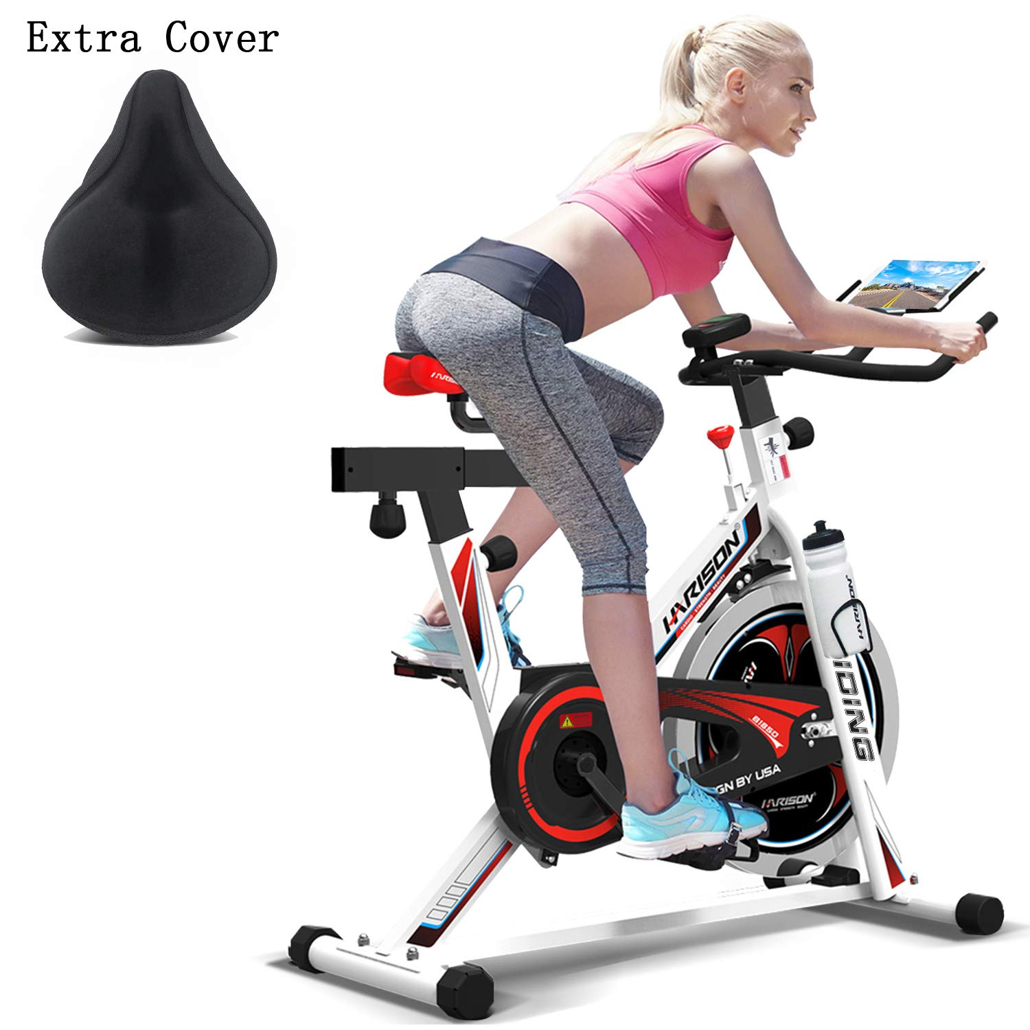 HARISON Pro Indoor Cycling Bike Belt Drive with iPad Holder, Stationary Exercise Bike for Home use B1850 (with cusion) by HARISON
