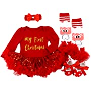 BabyPreg Baby Girls My First Christmas Santa Costume Party Dress 4PCS (My First Red Long, S for 3-6 Months)