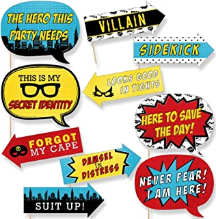 product image for Big Dot of Happiness Funny Bam Superhero - Baby Shower or Birthday Party Photo Booth Props Kit - 10 Piece