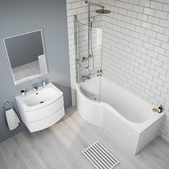 1700 mm mano izquierda P-en la bañera con mampara de ducha baño bestdeal + Panel BL225: iBathUK: Amazon.es: Hogar