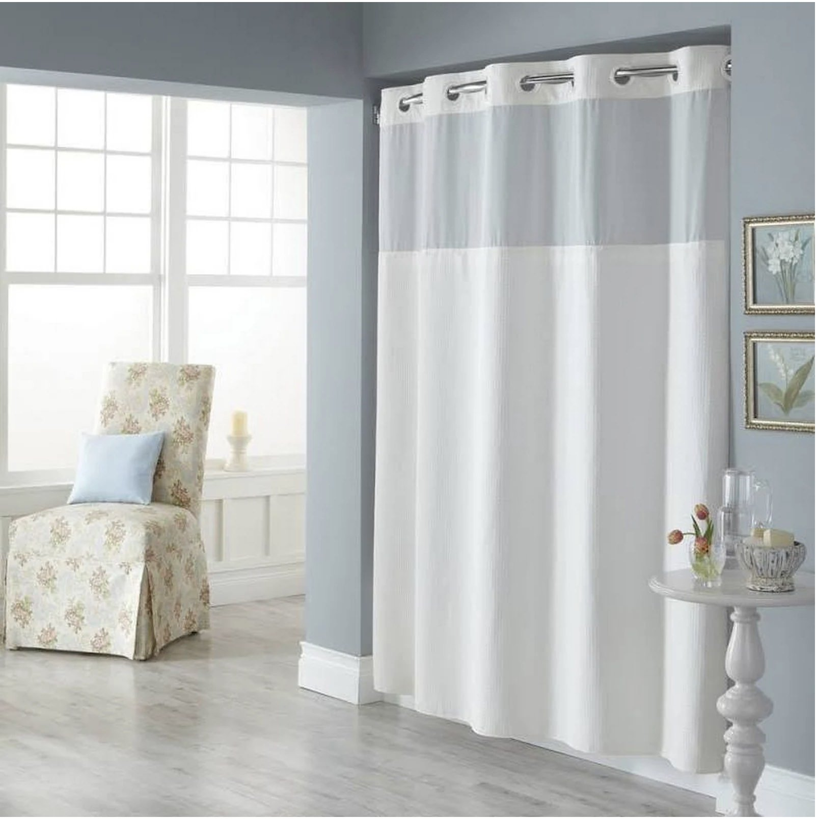 Trendy Linens Hookless Shower Curtain See Through Top Hotel Quality Polyester with Magnets, and Sheer Voile Peek-a-boo Window - 71'' x 77'', White Hookless Long Shower Curtain