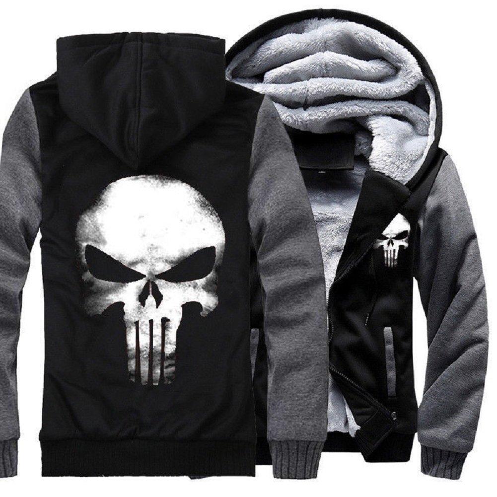 Punisher Hoodie Sweatshirt Skull Cosplay Zipper Winter Plus Velvet Thicken Jacket Coats 3XL