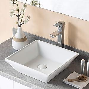 DeerValley DV-1V022 Bathroom Vessel Sink and Rectangular White Ceramic Porcelain Counter Top Vanity Bowl Sink