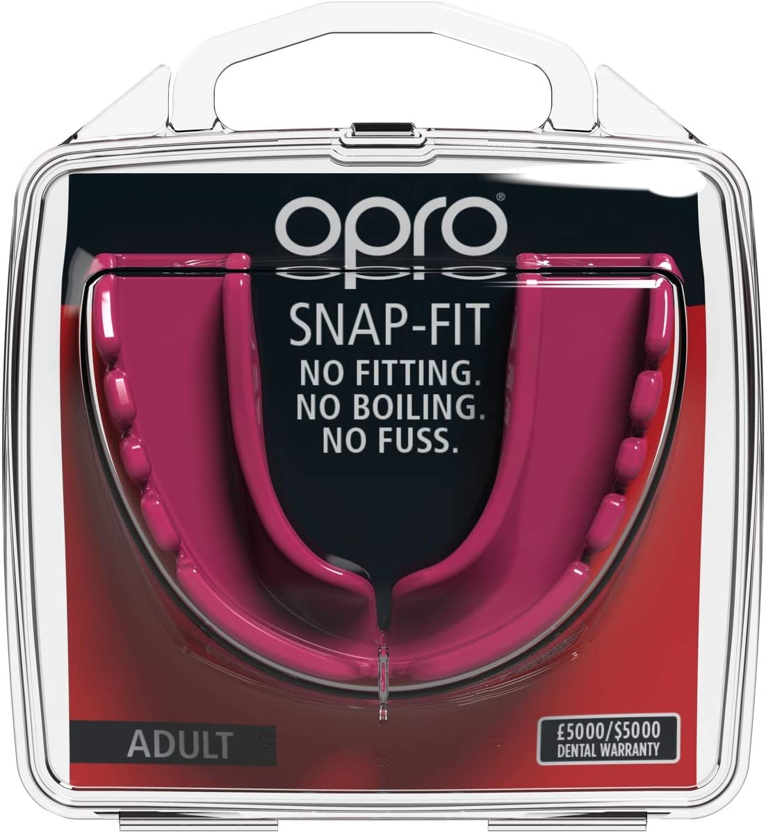 OPRO Snap-Fit Mouthguard and Other Contact Sports Adult and Youth Sizes No Boiling or Fitting Required -18 Month Dental Warranty Gum Shield for Hockey Rugby