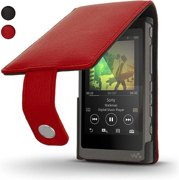 Igadgitz U6341 Rot Leder Flip Tasche Schutzhülle Elektronik