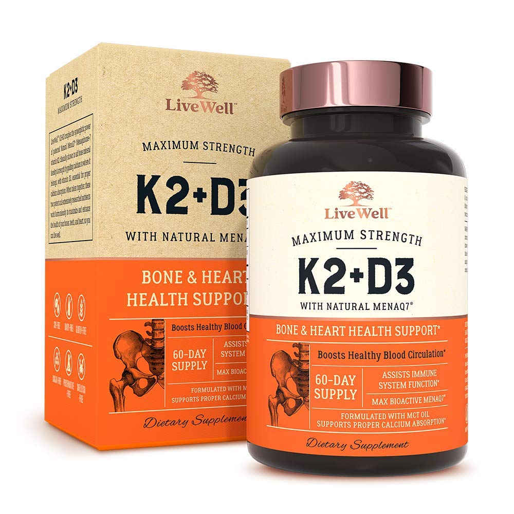 K2 D3 Vitamin Supplement by LiveWell | Bone & Heart Health Support - Vitamin K2 as MK7, Vitamin D3 5000 IU - 60 Day Supply