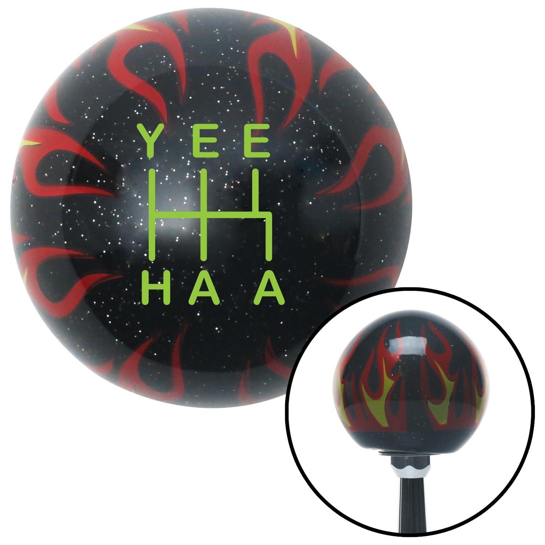 Green YeeHaa 5 Speed Black Flame Metal Flake with M16 x 1.5 Insert American Shifter 302208 Shift Knob