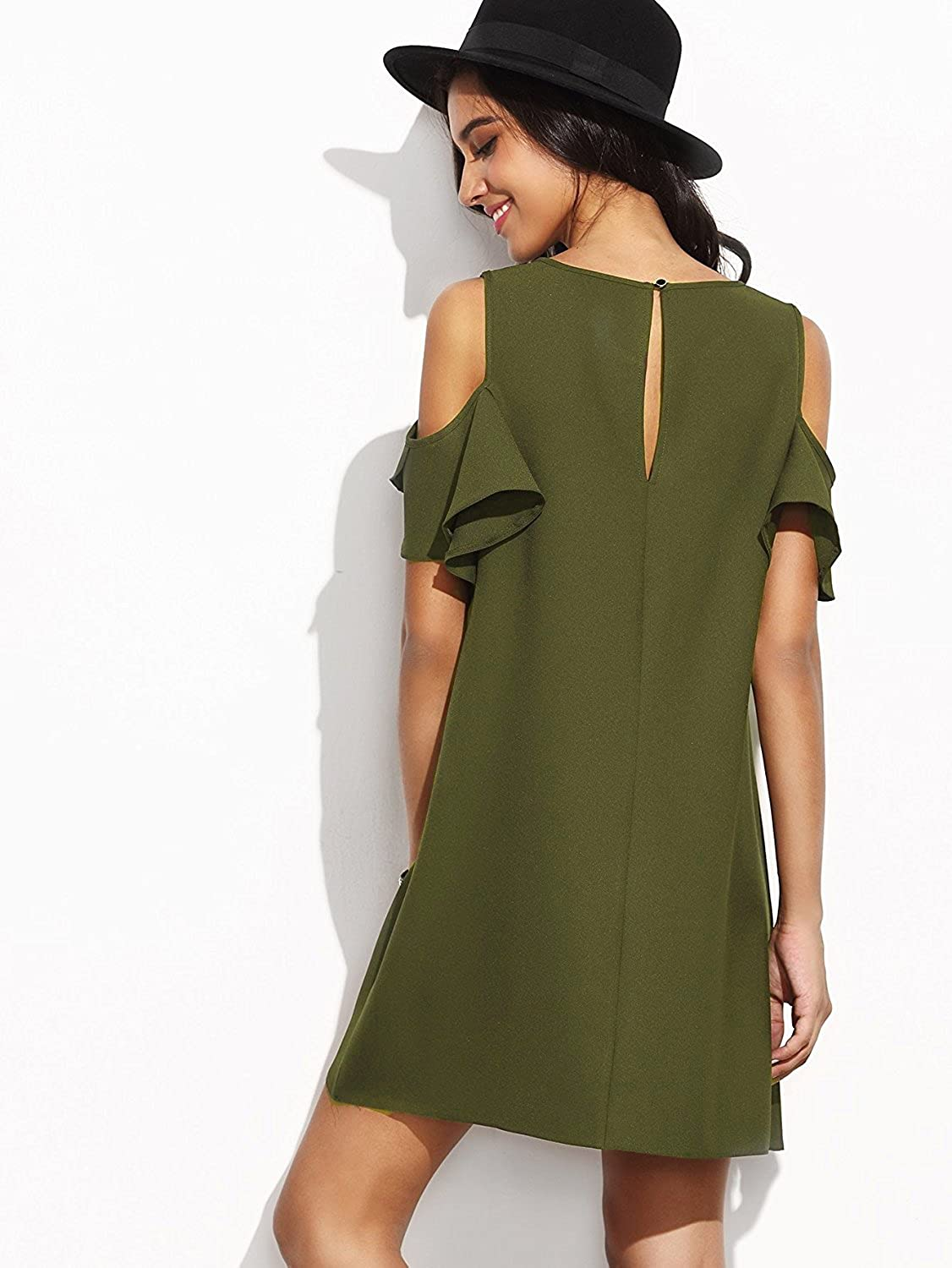 c5ed0bee856 Milumia Women s Summer Cold Shoulder Ruffle Sleeves Shift Dress at Amazon  Women s Clothing store
