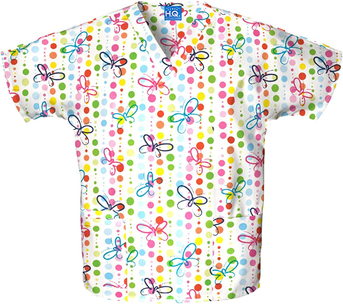 Scrub HQ V-Neck Top, 4700, XL, Butterfly Dots: Medical Scrubs Shirts: Clothing