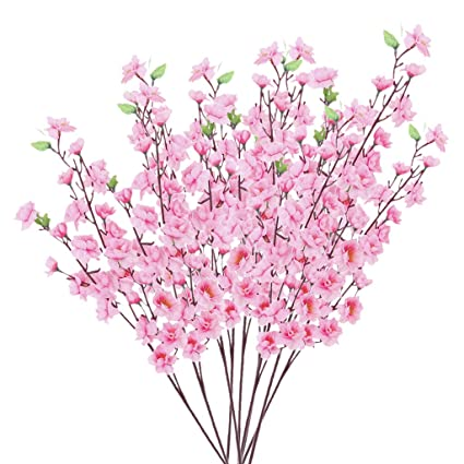 Amazon artificial spring blossom cherry plum bouquet branch artificial spring blossom cherry plum bouquet branch silk flower pink mightylinksfo