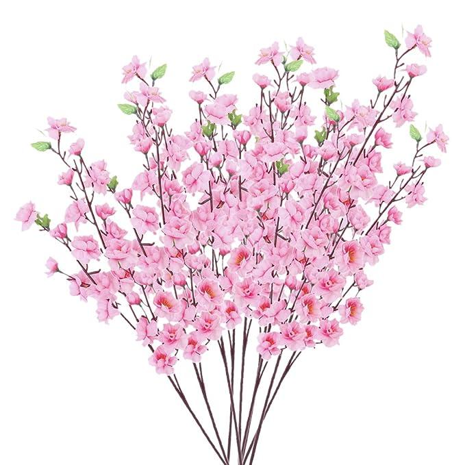 10pcs Flores Artificiales Flores de Durazno de Color Rosa: Amazon ...