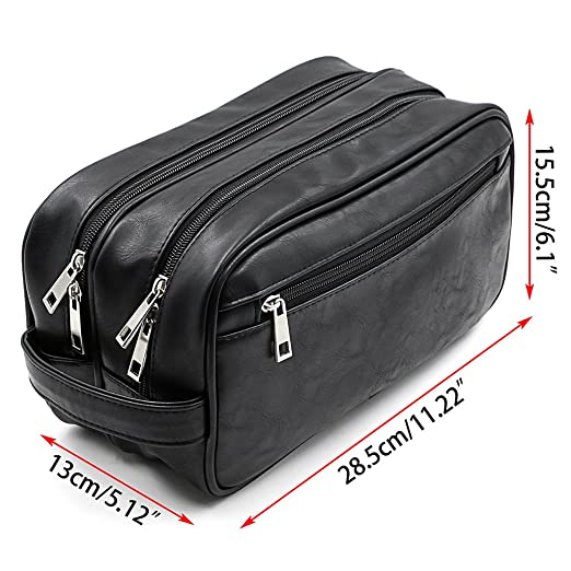 8b67bacf9251 Amazon.com   Hipiwe PU Leather Travel Toiletry Bag