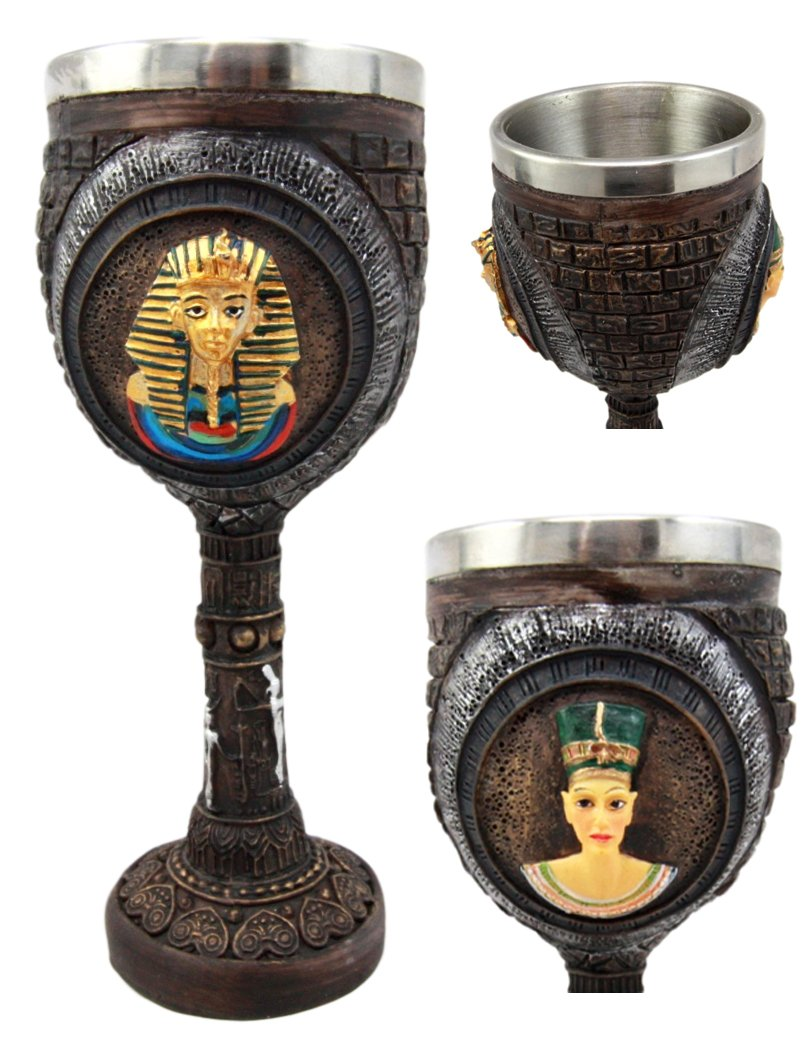 Atlantic Collectibles Pharaoh King Tut & Queen Nefertiti Wine Goblet Chalice 6oz With Stainless Steel Liner Ancient Egyptian Royalty Gods In Human Form