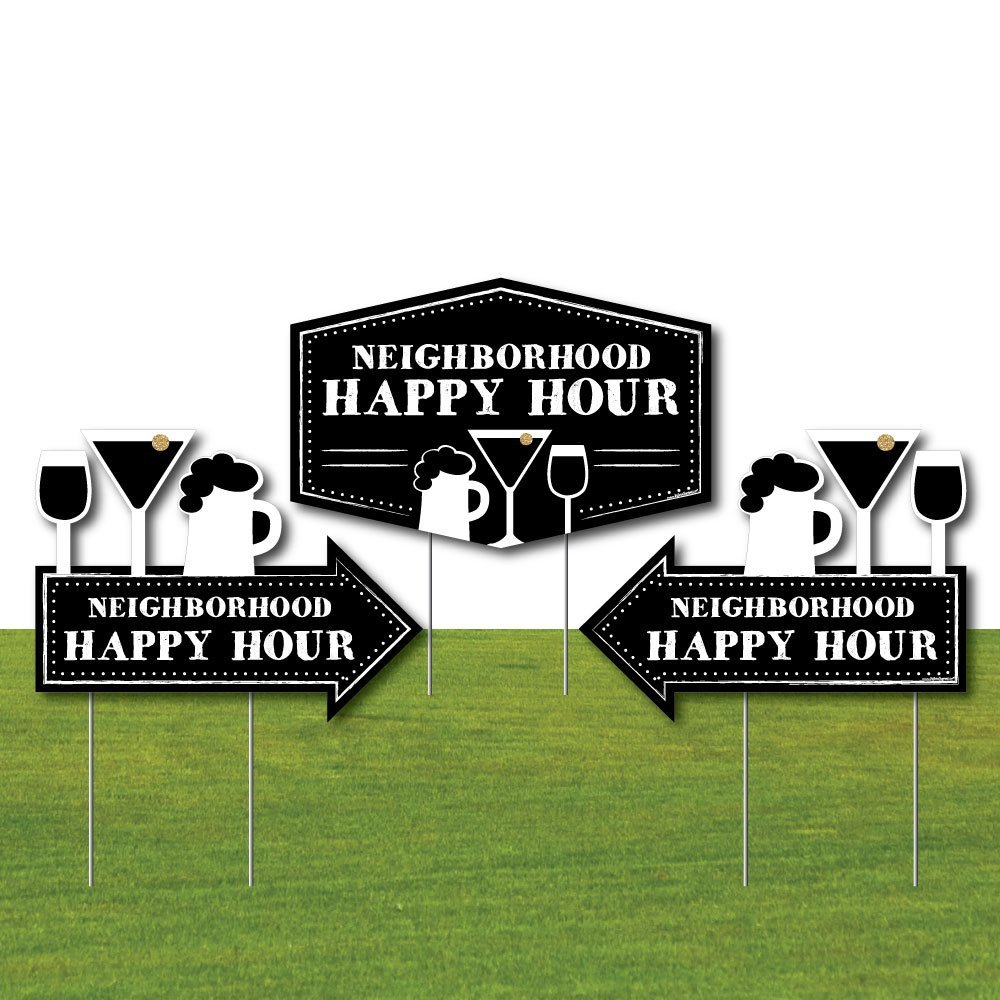 Big Dot of Happiness Neighborhood Happy Hour Signs - 2 Neighborhood Party Arrows and 1 Happy Hour Outdoor Lawn Sign - Doubled Sided Yard Signs - 3 Pieces