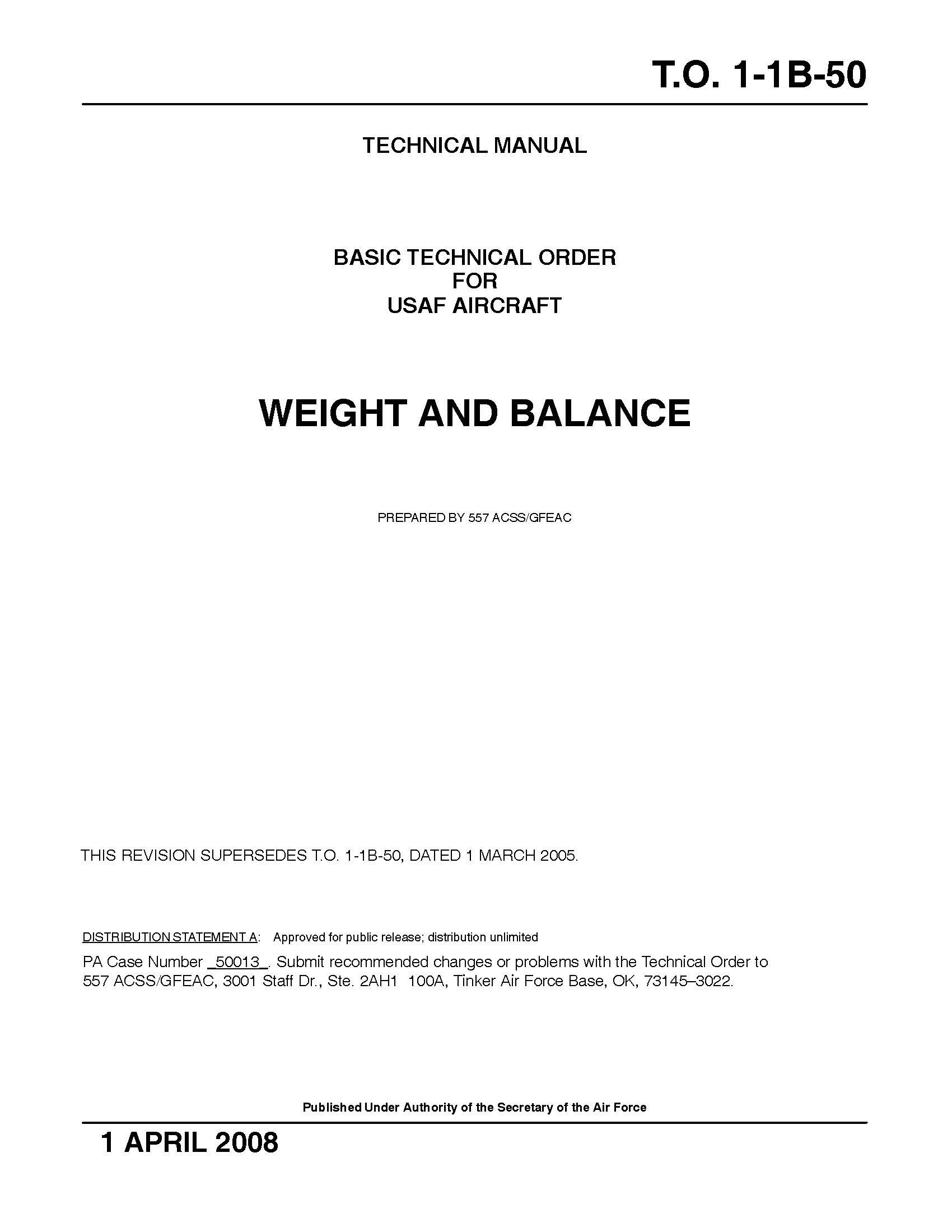 T.O. 1-1B-50 Aircraft WEIGHT AND BALANCE Basic Technical Order for USAF  Aircraft 2005: U.S. Air Force: Amazon.com: Books