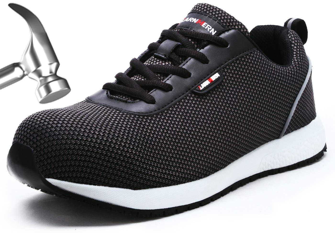 LARNMERN Steel Toe Shoes Men, Work Safety Reflective Strip SRA Industrial & Construction Shoe, LM1027 (11, Black Knit S1)