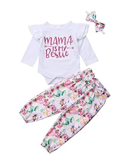 8090f5ca4 Amazon.com: Urkutoba Baby Girl Mama is My Bestie Cute Words Print Ruffle  Long Sleeve Romper Floral Long Pants with Waist Bowknot Outfits: Clothing